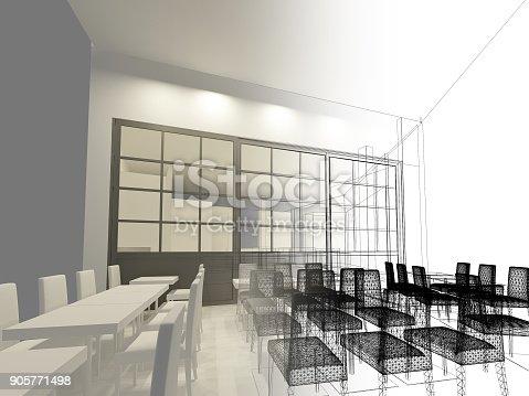 istock sketch design of resturant ,3d wire frame render 905771498