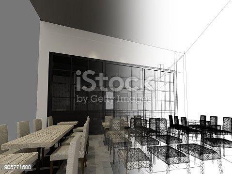 istock sketch design of resturant ,3d wire frame render 905771500