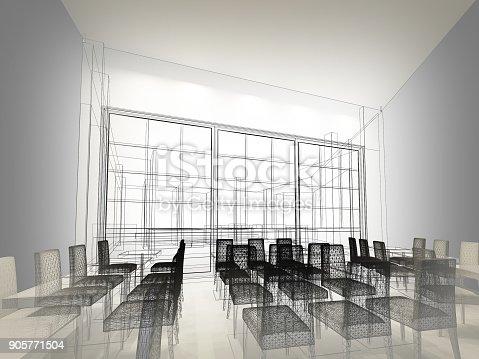 istock sketch design of resturant ,3d wire frame render 905771504
