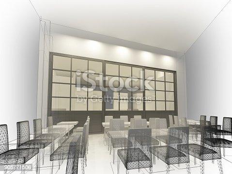 istock sketch design of resturant ,3d wire frame render 905771506