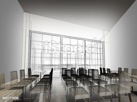 istock sketch design of resturant ,3d wire frame render 905771508