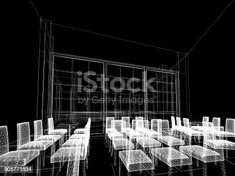 istock sketch design of resturant ,3d wire frame render 905771534