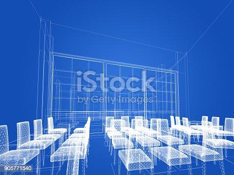 istock sketch design of resturant ,3d wire frame render 905771540