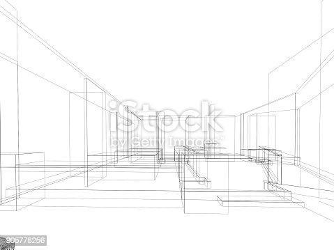 istock sketch design of resturant ,3d wire frame render 905778256