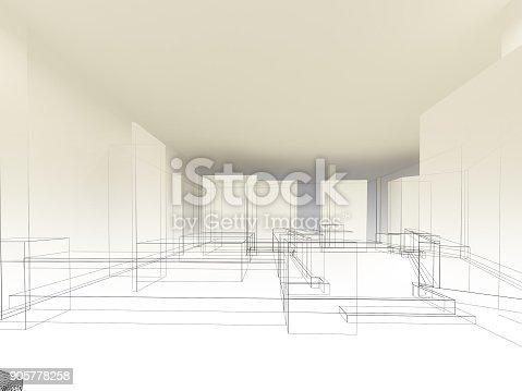 istock sketch design of resturant ,3d wire frame render 905778258