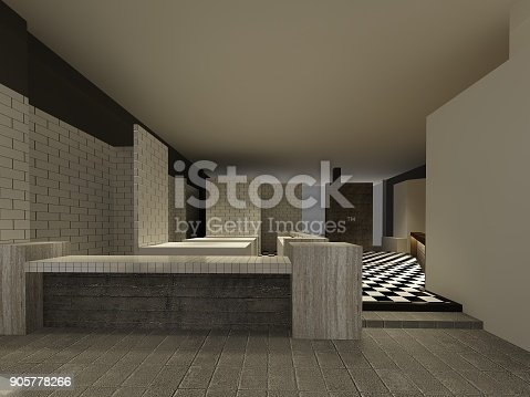 istock sketch design of resturant ,3d wire frame render 905778266