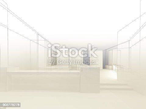 istock sketch design of resturant ,3d wire frame render 905778278