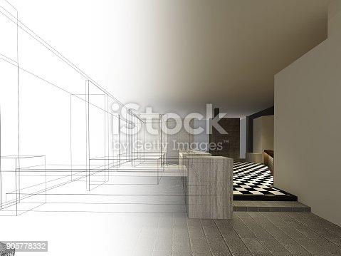 istock sketch design of resturant ,3d wire frame render 905778332
