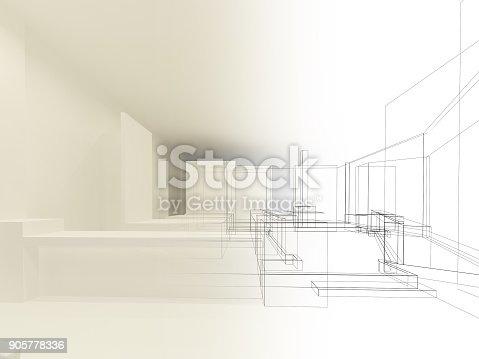 istock sketch design of resturant ,3d wire frame render 905778336