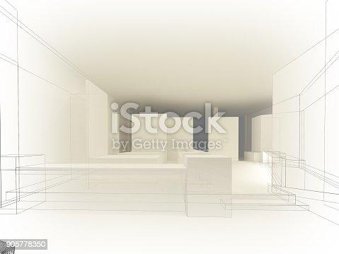 istock sketch design of resturant ,3d wire frame render 905778350