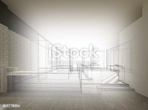 istock sketch design of resturant ,3d wire frame render 905778354