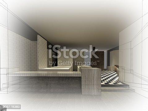 istock sketch design of resturant ,3d wire frame render 905778360