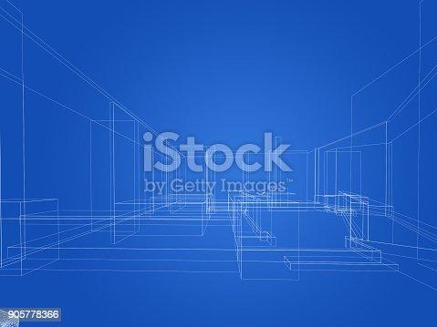 istock sketch design of resturant ,3d wire frame render 905778366