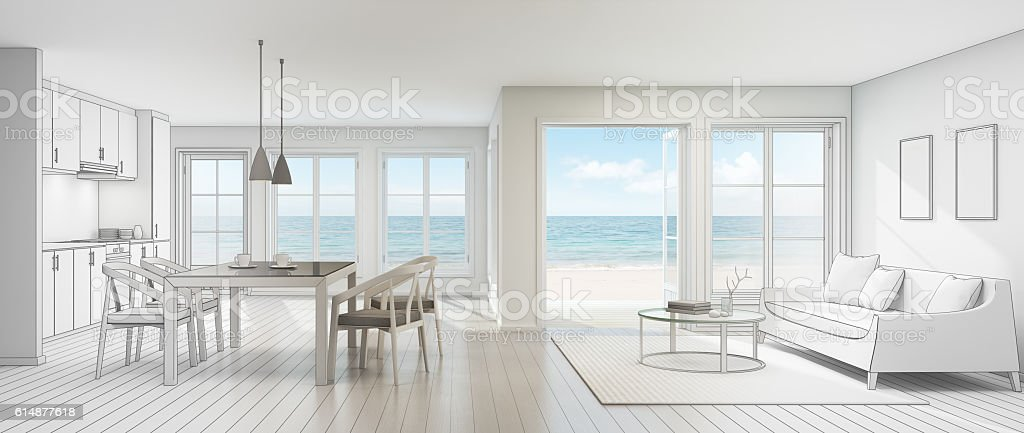 Sketch design of sea view interior in modern beach house stock photo