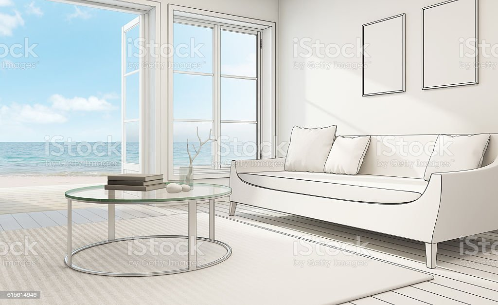 Sketch design of sea view interior in modern beach house – Foto