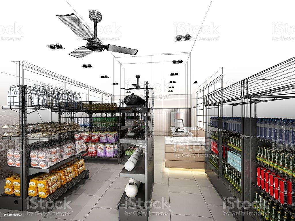 sketch design of supermarket ,3d  rendering - foto de stock