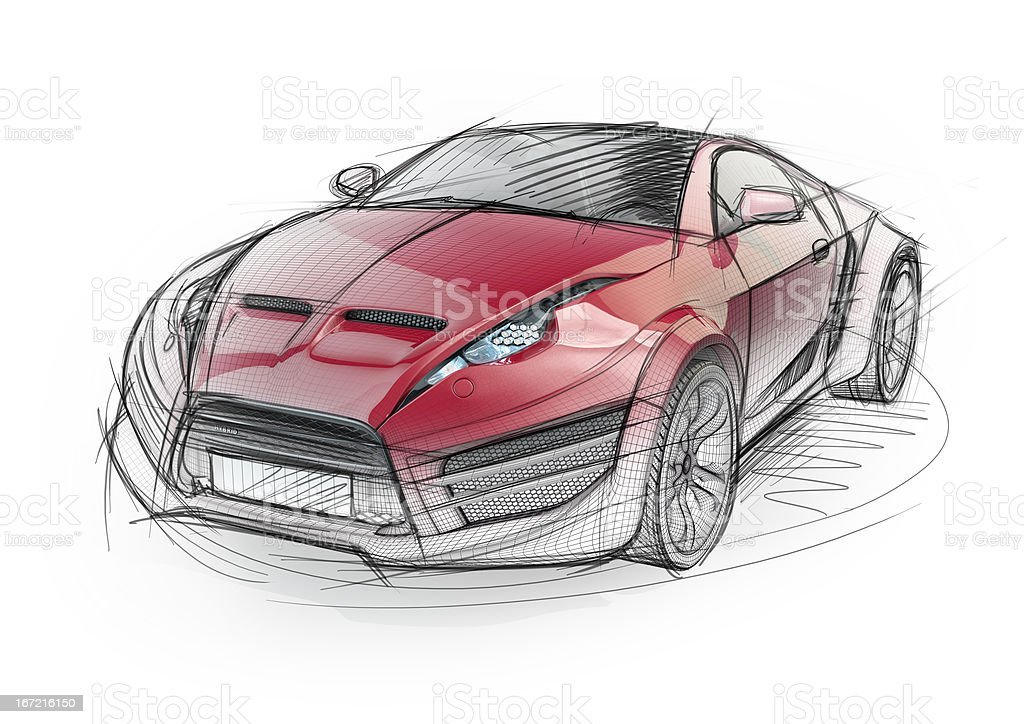 Sketch drawing of a red sports car stock photo