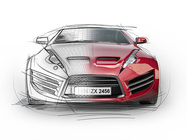 Sketch drawing of a sports car stock photo