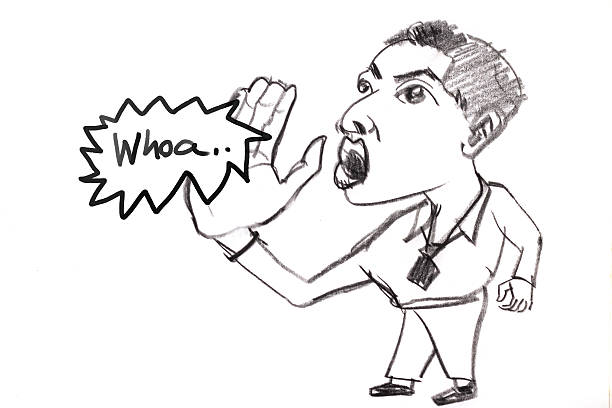 Sketch drawing of business man shouting to someone ストックフォト