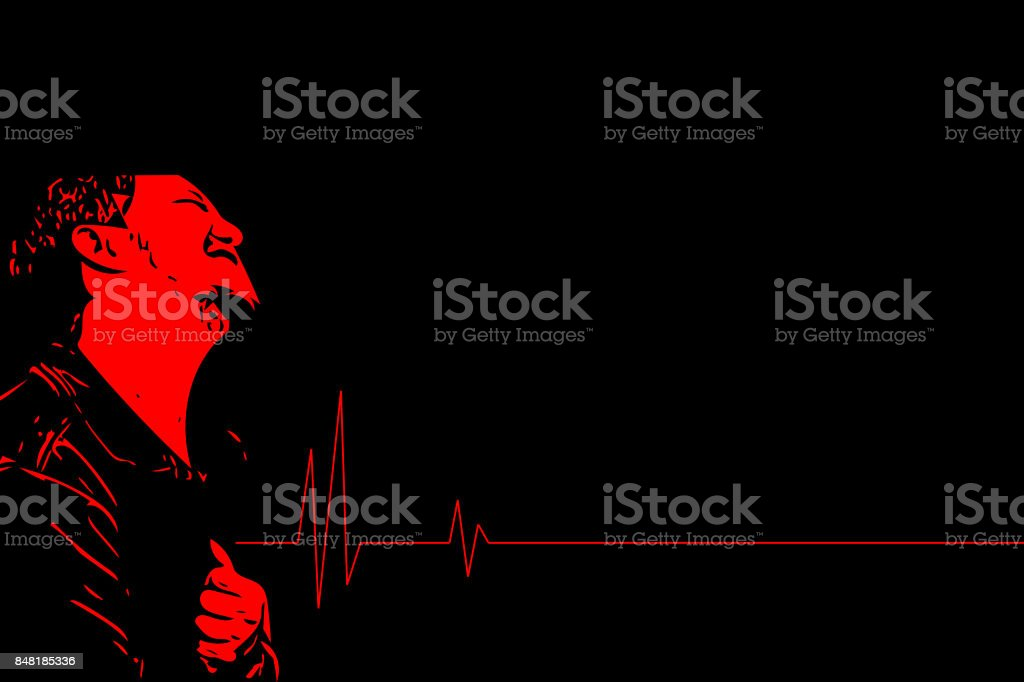 Sketch drawing of man pain from disease heart attack in healthcare and angina concept stock photo
