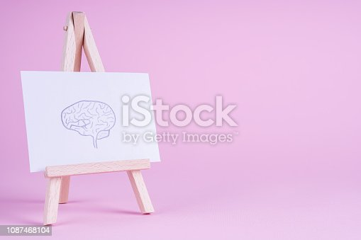 Sketch hand drawn brain on small decorative easel. Human brain side view.