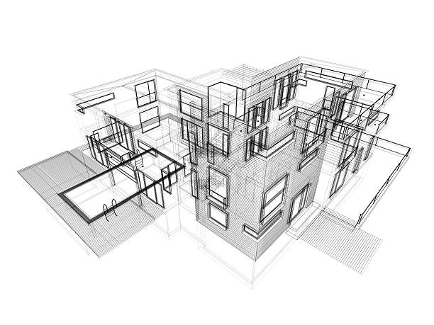 3D Sketch, modern house in wire frame layout, Aerial View stock photo