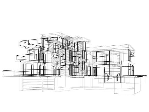 3d sketch, modern house in wire frame layout side view - wire frame model stock photos and pictures