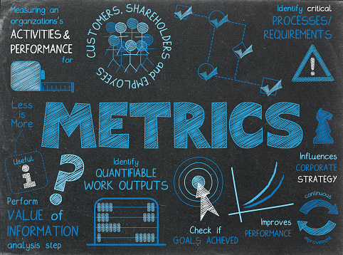 METRICS blue and white hand-drawn sketch notes on blackboard background