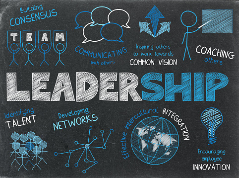 LEADERSHIP blue and white hand-drawn sketch notes on blackboard background