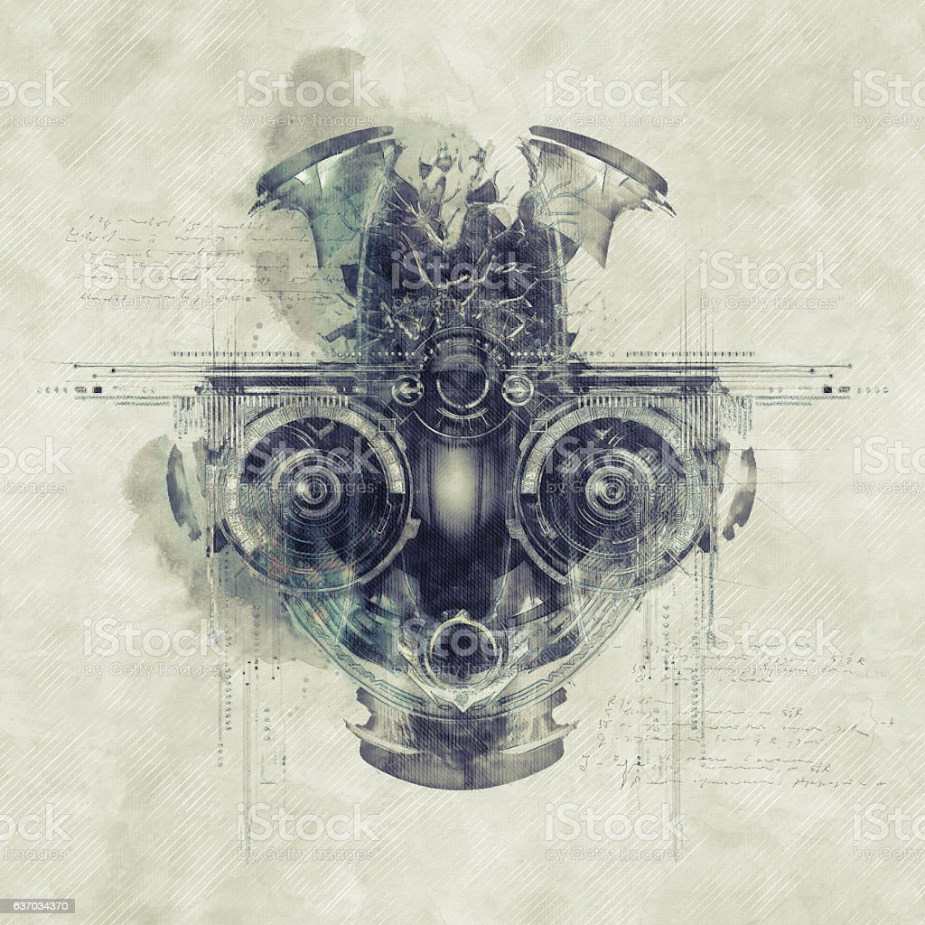 Sketch of a futuristic cyborg face, 3D illustration royalty-free stock photo