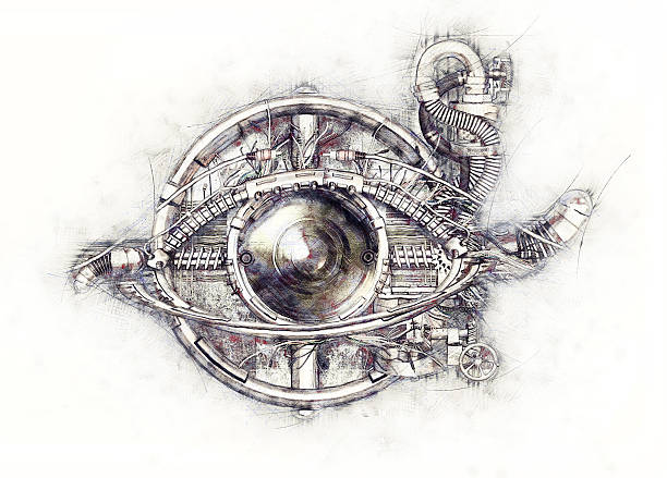 Sketch of a technical-mechanical eye, 3D Illustration stock photo