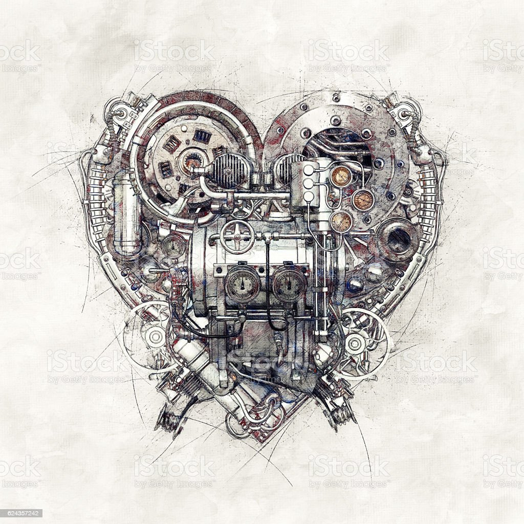 Sketch of a technical-mechanical heart, 3D Illustration – Foto