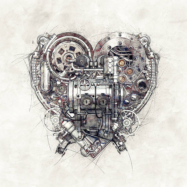 Sketch of a technical-mechanical heart, 3D Illustration stock photo