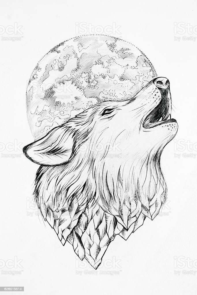 Sketch Of A Wolf Howling At The Moon White Background Stockfoto Und Mehr Bilder Von Ausmalen Istock