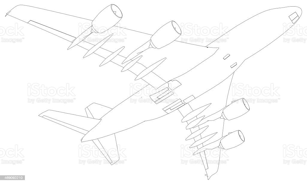 Sketch of airplane. Bottom view stock photo