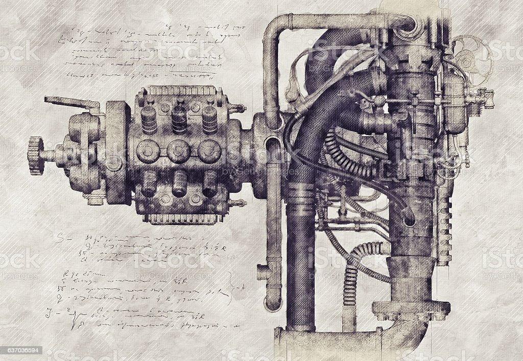 Sketch of an old machine, 3D Illustration - Foto de stock de Anticuario - Anticuado libre de derechos