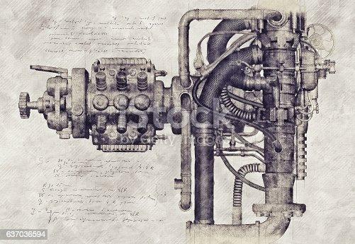 Design of an old machine, 3D Illustration