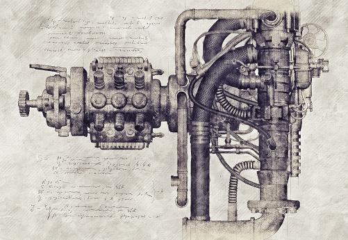 Sketch Of An Old Machine 3d Illustration Foto de stock y más banco de imágenes de Anticuario - Anticuado