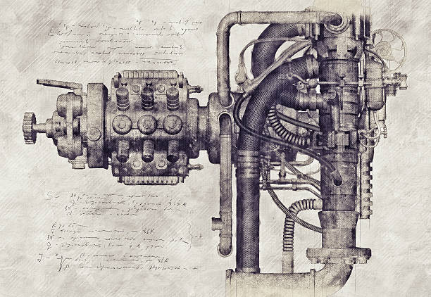 Sketch of an old machine, 3D Illustration stock photo