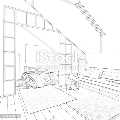 istock Sketch of apartments in the attic 1160786794