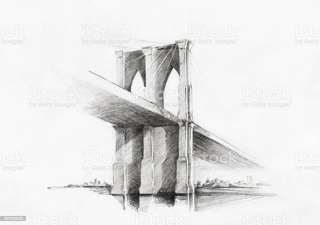 Sketch of Brooklyn Bridge, viewed from Manhattan stock photo