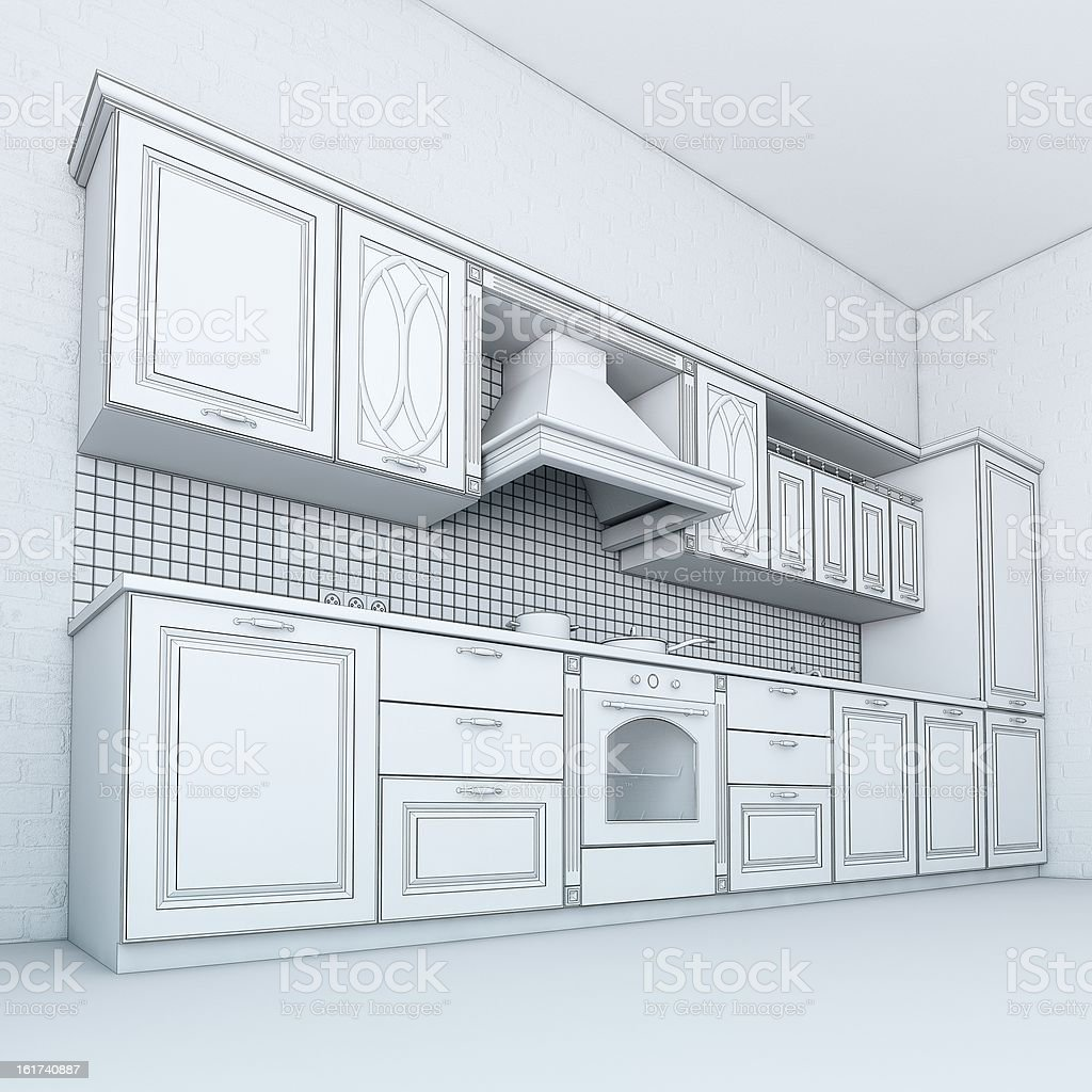 Sketch Of Classic Kitchen Cabinet Stock Photo & More Pictures of ...