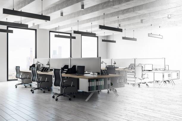 Skizze der moderne Büroeinrichtung – Foto