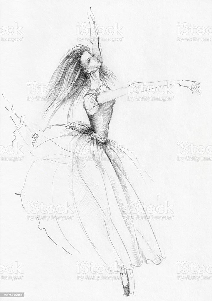 Sketch of Dancing Ballerina stock photo
