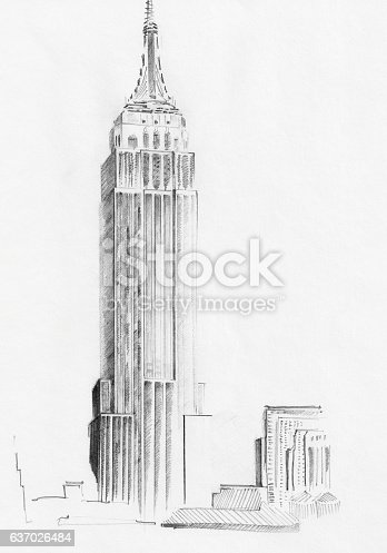 istock Sketch of Empire State Building 637026484