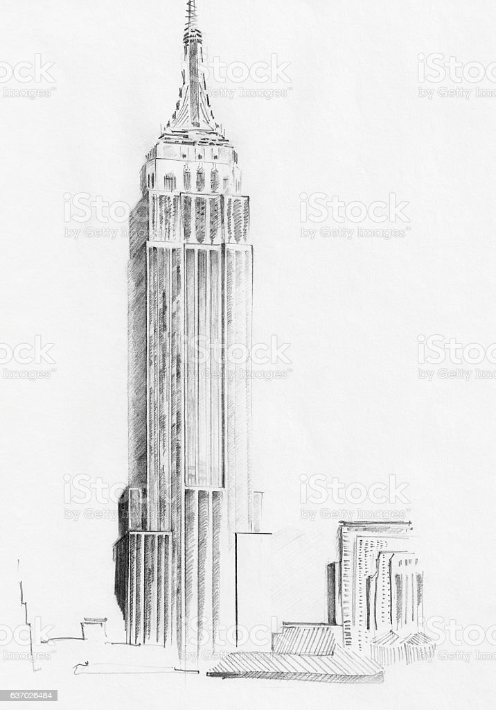 Sketch of Empire State Building stock photo