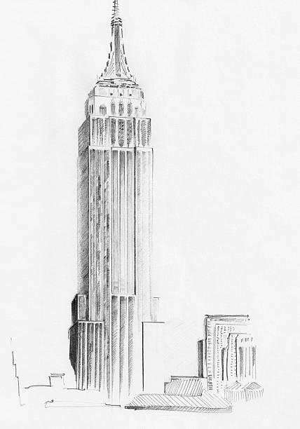 sketch of empire state building - pencil drawing stock pictures, royalty-free photos & images