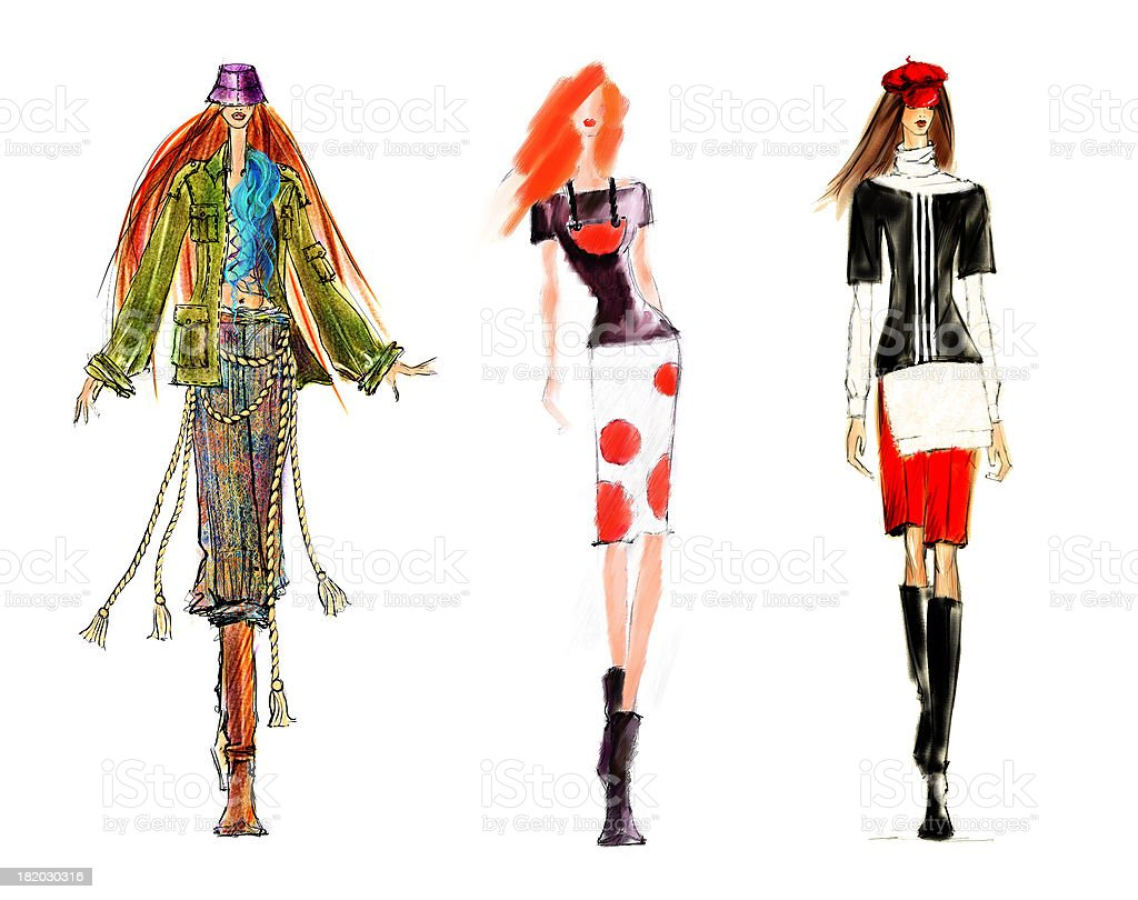 Sketch of Fashion Figures. stock photo
