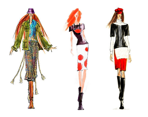 sketch of fashion figures. - sketch stock photos and pictures