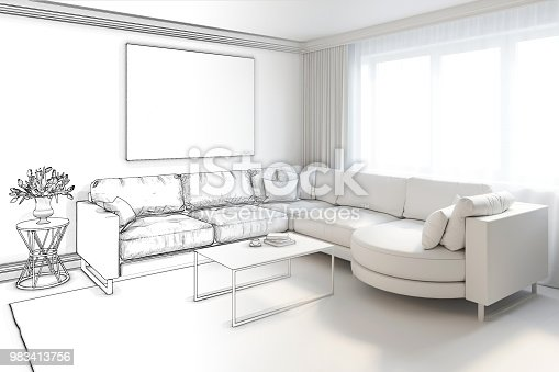 istock Sketch of living room became a white interior 983413756